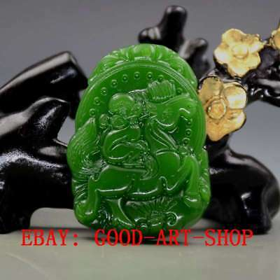 Chinese Natural Green Hetian Jade Hand-carved Monkey & Horse Pendant G48