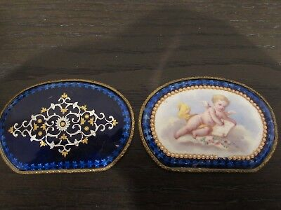 Teo Bronze Mounted French Enamel Plaques With Putti