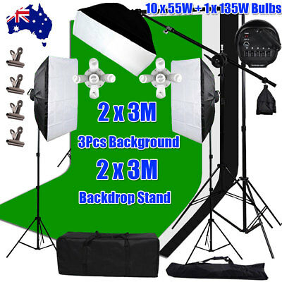 3Pcs 2x3m Backdrops 3425W Photo Studio Softbox Lighting Boom Arm Light Stand Kit