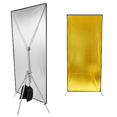 Neewer Studio Gold Silver Double Side Flat Panel Lighting Reflector with Stand