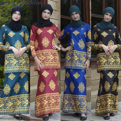 Mexican Ethnic Womens Gold Floral Vintage Tops Skirt Set Africa Muslim Dress