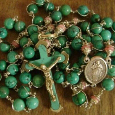 Old Turquoise & Rhodochrosite Bead Rosary Cross  Crucifix Catholic Necklace Box