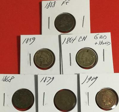 1858 Flying Eagle to 1909 US Indian Head Cents SEt of 6 Hard to Find Coins!