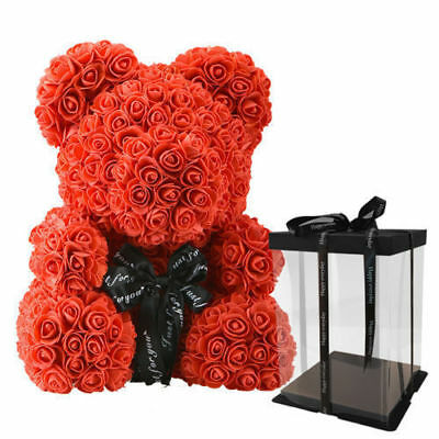 25cm Diy Pe Foam Artificial Flowers Rose Bear For Artificial Valentines Day Party Diy Handmade Rose Flower Bear Toy Arts & Crafts, Diy Toys
