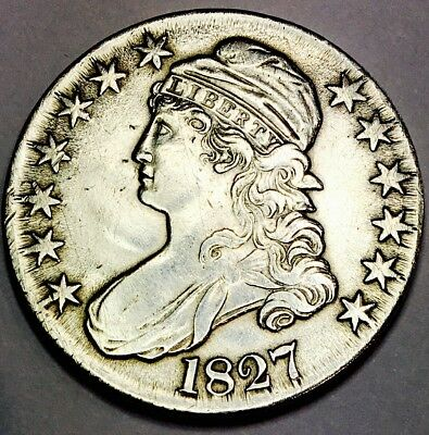 1827 Capped Bust Half! Incredible Piece! Wow Coin! Super Super Rare! Nr # 1852