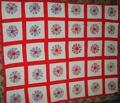 """Vintage 1930s' 1940s' Hand Stitched DRESDEN Plate 62"""" X 77"""" QUILT Clean ~ A+"""