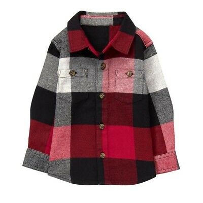 Gymboree Baby Boy's Christmas Red Black Flannel Plaid Button Shirt 6-12 Months