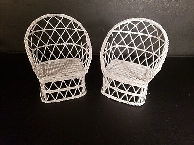 Vintage Dollhouse Miniature White Metal Wicker Look Furniture set of 2 Chairs