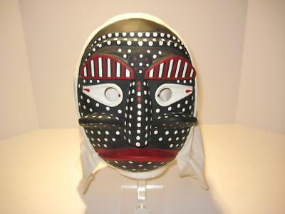 Japanese Carved Wood Noh Kabuki Black White Red Mask Hand Painted  & Signed