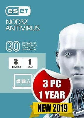 Eset Nod32 Antivirus 2019 3 Pc 1 Year Antivirus Genuine Code & Official Link