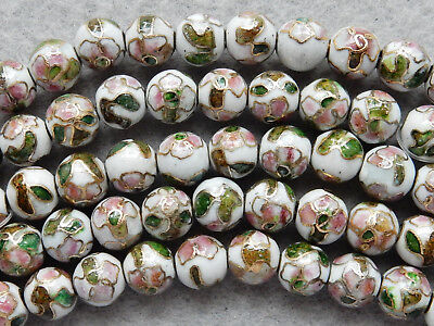 12 VINTAGE CHINESE ROUND PINK CLOISONNE BEADS 7.5mm***FREE SHIPPING***