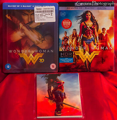 Wonder Woman 3D HMV Limited Edition Steelbook + BB 4K HD + Marvel Art Cards