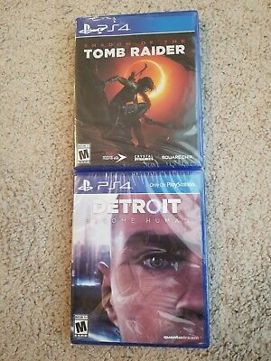 Lot of 2 PS4 Detroit Become Human Shadow of the Tomb Raider Brand New
