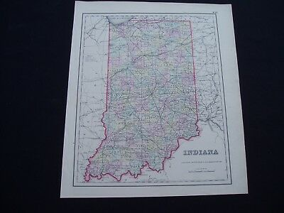 1855 Colton Altas Map State of Indiana Genuine Antique