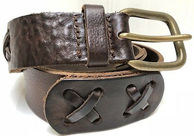 "Gap Men's Distressed Brown Leather 1.5"" Wide Belt Solid Brass Buckle Size 32"