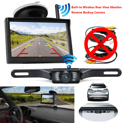 """Built-in Wireless 5"""" LCD Car Rear View Monitor 170° License Plate Backup Camera"""