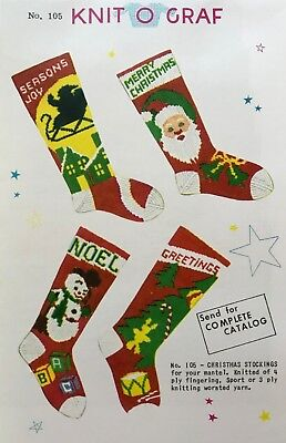 It's HERE!! Knit-o-Graf #105 Vintage Christmas Stockings Knitting Pattern!