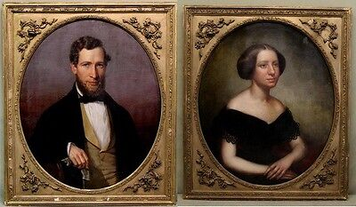 Antique 19th Century Victorian Husband & Wife American Portrait Oil Paintings