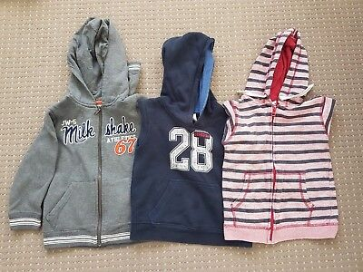 boys sz 5 hoodies / jumpers x 3 cotton on, milkshake, osh kosh