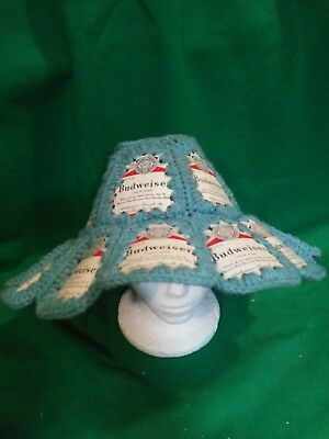 Vintage 1970s Budweiser Beer Can Crochet Hat Retro Hipster Party Hat
