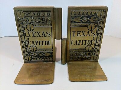 VTG Brass/Wood Texas State Capitol Door Hinge Library Bookends 50TH ANNIVERSARY