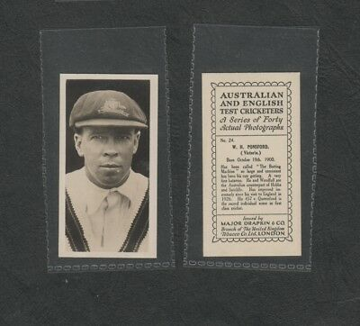 "e3004)    1928 AUSTRALIA & ENGLISH TEST CRICKETERS CIG.CARD #24 W PONSFORD ""VIC"""
