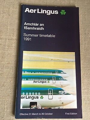 Aer Lingus Airlines Summer 1991 Flight Schedule Timetable
