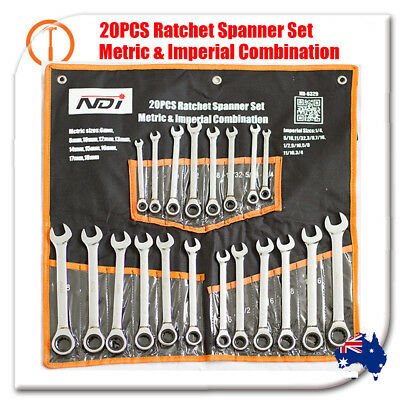 20Pc Ratchet Spanner Set Metric & Imperial Combination Open End Ring CR-V 0329
