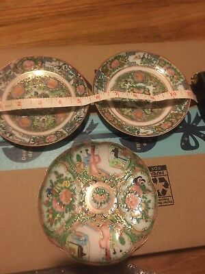 3 Antique Chinese Export Hand Painted Famille Rose Porcelain Canton Plates 5.5""