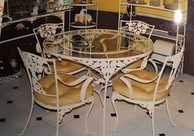 ESTATE Rare Vintage Hand Forged Antique Wrought Iron Dining Set - Hibiscus