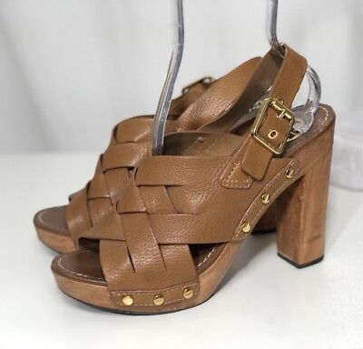 8f56c6c8234  350 Tory Burch 9 M Brown Woven Leather Chunky Wooden Platform Heel Jodie  Sandal