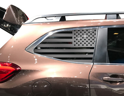 QB20A fits 2014-2018 USA American Flag w//Trees Decals in Matte Black for side windows Subaru Forester