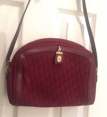 Christian Dior Vintage Logo Purse Crossbody Shoulder Bag Red Burgundy Logomania