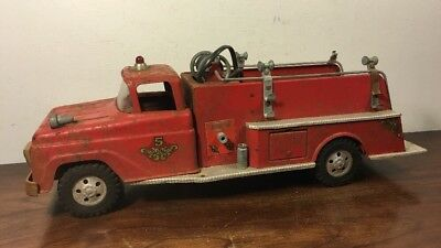 Vintage Tonka No 5 Suburban Pumper Fire Truck Pressed Steel Toy