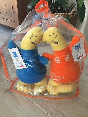 Rare Athens 2004 Olympic Mascot Plush toy Pair Brand new in packaging with tags