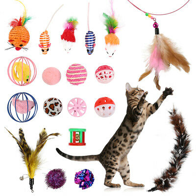 Cat Kitten Pet Teaser Turkey Feather Interactive Stick Toy Bell Wire Chaser