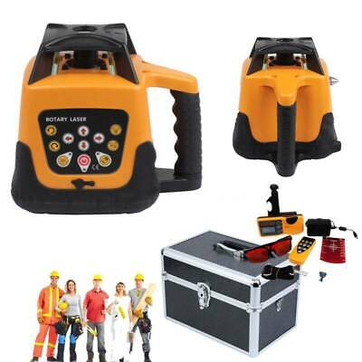Auto Self-Leveling Rotary Rotating Red Beam Laser Level w/ Tripod Staff Case Set