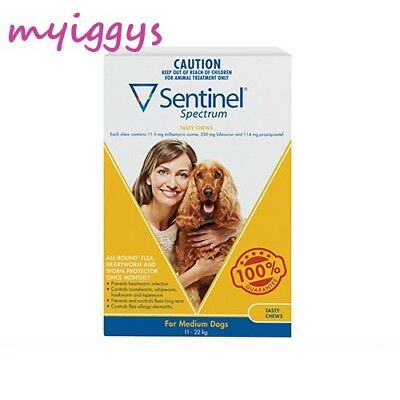 Sentinel Spectrum for Medium Dogs 11-22kg YELLOW  1,   3 Pack & 6 Pack