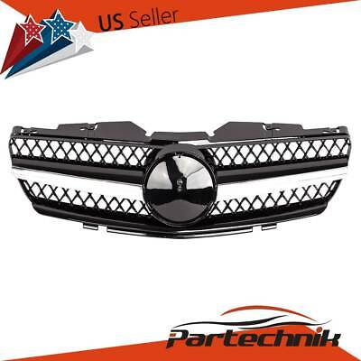 Front Hood Upper BLACK + CHROME Trim Grille Grill for Mercedes R230 SL Class