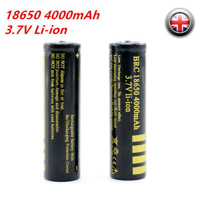 2PCS BRC Protected 18650 Rechargeable Li-ion Battery 4000mAh 3.7V for Torch Lamp