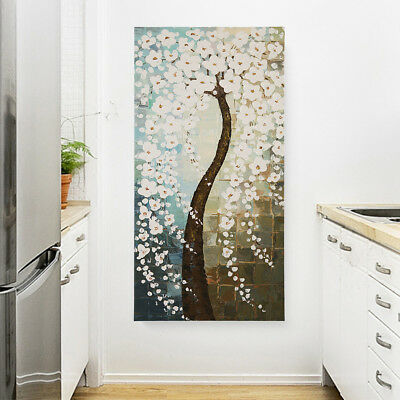 Hand Painted Modern Abstract Flower Tree Oil Painting Canvas Home Decor Framed