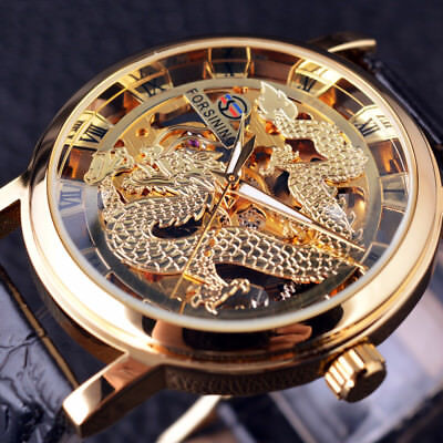 Watch Men Chinese Dragon Skeleton Mechanical Automatic Wrist Gold Carving Self
