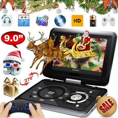 "12 ""Portable DVD TV Player 9""Swivel Screen Rechargeable Multiuse W/300 Game CD"