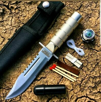 "8.5"" SURVIVAL FIXED SERRATED BLADE COMBAT TACTICAL HUNTING KNIFE w SHEATH Bowie"