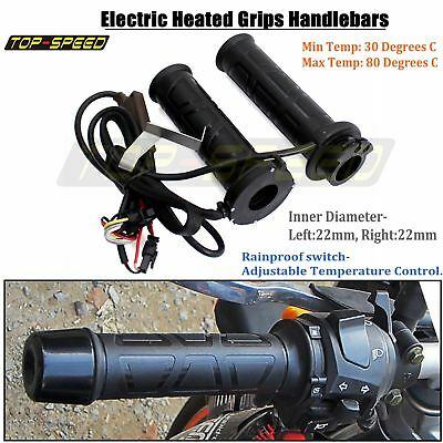 "Motorcycle Electric Heated Hand Grips 7/8"" Handlebars Adjustable Throttle Warmer"
