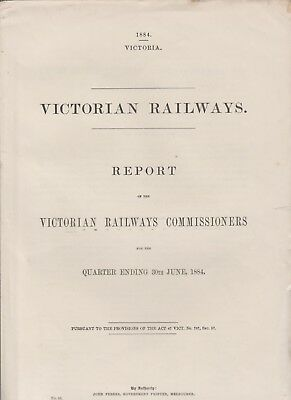 Victorian Railways Report Of The Victorian Railways Commissioners 1884