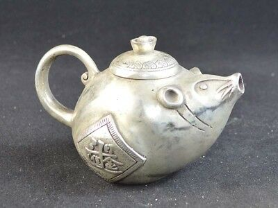 Unique Chinese Old Tai Silver Handmade Carved Ancient Mouse Statue Teapot Collec