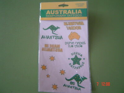 Australia Temporary Tattoos  New Unused Sealed in Pack Sold as Per Scans