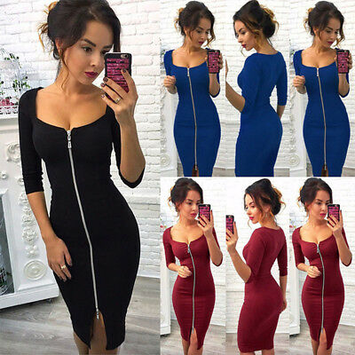 Women Sexy Long Sleeve Zipper Party Evening Causal Bandage Bodycon Dresses LH