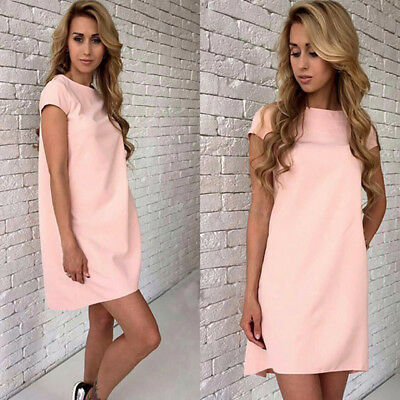 Summer Beach Women Short Sleeve Loose Mini A-line Candy Color Casual Dress LH